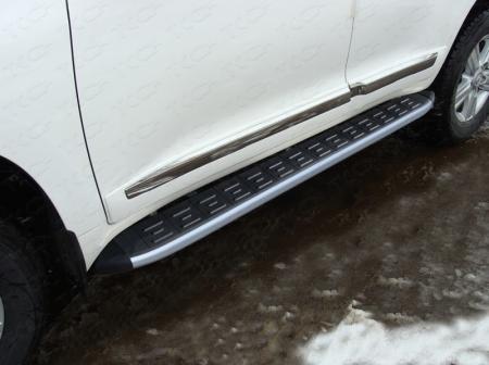 Toyota Land Cruiser 200 2015 Пороги алюминиевые с пластиковой накладкой (карбон серые) 1720 мм
